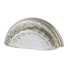 """Cup Pull Crystal Clear Fluted 3"""" on Center in Satin Nickel"""