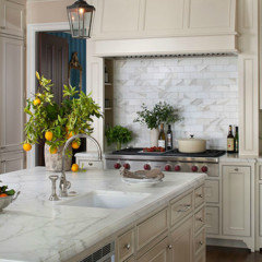 I Think The Cream Cabinets Look Good With The White Marble Looking Quartz  Or Granite.