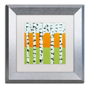 Michelle Calkins Seasonal Birches Winter Matted Framed Art Traditional Prints And Posters By Trademark Global