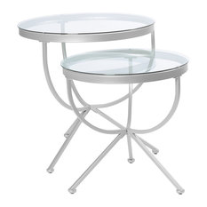 Monarch Specialties   Nesting Table, 2 Piece Set, Silver With Tempered Glass