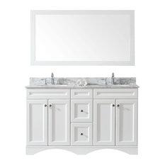 "Talisa 60"" Double Bathroom Vanity,White,Marble Top,Round SinkFaucet,Mirror"