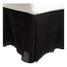 Striped Premium Premium Cotton Bed Skirt, 300-Thread-Count, Black, Queen