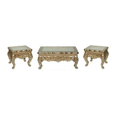 Homey Design - 3-Piece Antique-Style Gold Victorian Coffee Table Set - Coffee  sc 1 st  Houzz & Most Popular Victorian Coffee Table Sets for 2018 | Houzz