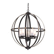 5-Light Antique Bronze Globe Orb Cage Chandelier With Glass Sconces Farmhouse