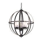 5-Light Antique Bronze Globe Orb Cage Chandelier With Glass Sconces Farmhouse