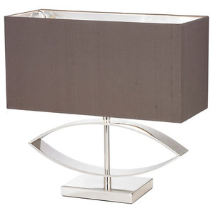 Tramini Modern Silver Table Lamp With Faux Silk Shade