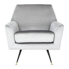 Safavieh   Nynette Velvet Retro Mid Century Accent Chair, Light Gray    Armchairs And