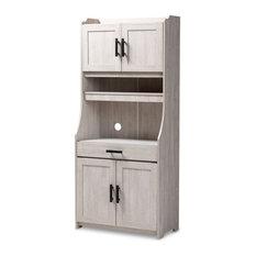 Baxton Studio Portia 6-Shelf Washed Wood Microwave Storage Cabinet in White
