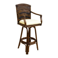 Bamboo & Rattan Bar Stool in Antique Finish w Cushion (Canvas Natural)