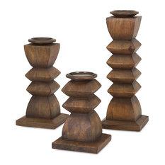 Designer Desta Wood Candleholders, 3-Piece Set