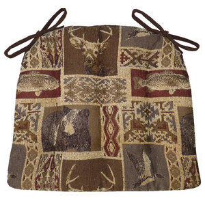 Wilderness Mountainview Dining Chair Pads Ties Latex Foam Fill Rustic