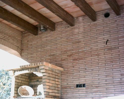 Porche exterior piscina viga hormig n imitaci n madera - Imitacion madera exterior ...