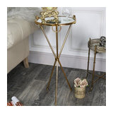 Tall Antique Gold Mirrored Side Table