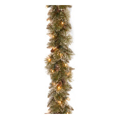 National Tree Company - 6' Glittery Bristle Pine Garland With Battery Operated Warm White LED Lights - Wreaths and Garlands