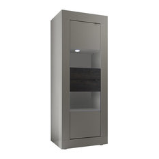 Modern Anti-Scratch Storage Cupboard, Pewter and Wenge Oak