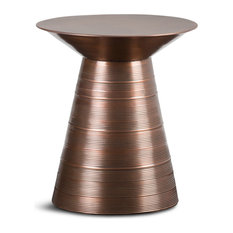 "Sheridan Contemporary 18"" Wide Metal Accent Side Table, Aged Copper"
