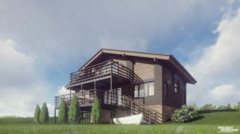 """Комбинированный загородный дом в стиле """"Chalet"""" в пос. Рыбная Слобода, S=127,8 к"""