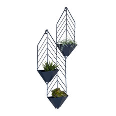 Tain Geometric Metal Wall Hanging Planter With 3 Pockets, Navy Blue
