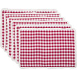 VHC Brands - Emmie Red Placemat, Set of 6 - Bring your country picnic indoors this winter with the Emmie Red Placemat Set. Our on-trend yet classically styled look is flourished with gathered ruffles to add a holiday spin to this farmhouse hit. 100% cotton.