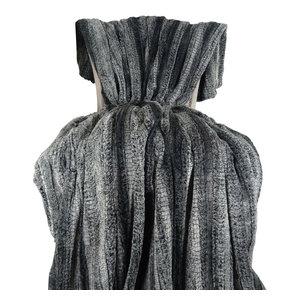 "Plutus Cuddle Charcoal Fringe Handmade Bedspread, 80""x110"""