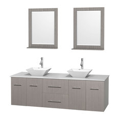 "72"" Gray Oak Double Vanity, White Man-Made Stone Top, White Porcelain Sink"