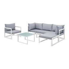 Fortuna 6 Piece Outdoor Patio Sectional Sofa Set, White Gray