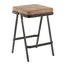 Lumisource Seven Counter Stool Black Metal And Brown Cowboy