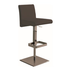Vittoria Bar Stool in Dark Gray Leather With Chrome Plated Base