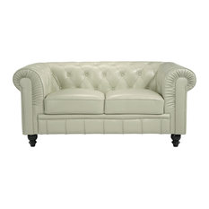 Classic Chesterfield Real Italian Leather Loveseat, Beige