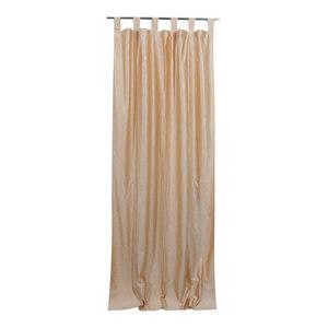 Mogul Interior - Beige Tab Top Velvet Curtain / Drape / Panel- Pair Indian Window Treatment,48x96 - Curtains