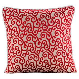 Red Burnout Velvet 35x35 Red Scroll Pattern Cushions Cover, Cayenne Red Scrolls