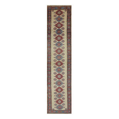 New Hand Knotted Ivory Kazak Runner 3' X 12' Wool Area Rug Mesa Collection H3681