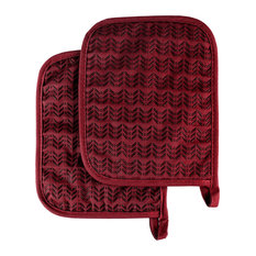 Pot Holder Set With Silicone Grip, Quilted And Heat Resistant, Burgundy