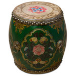 China Furniture and Arts - Green Tibetan Ceremonial Drum with Hand Painted Floral Art - Originally created for Tibetan ceremonies, this beautiful Tibetan drum is now a unique work of art to be collected. This drum features an intricate floral motif that adorns its body and top. Four brass ring handles and brass studs securing the canvas drum heads complete the look. When struck, the drum sends a magnificent sound with subtle reverberation. This colorful drum is a beautiful reflection of Tibetan art and culture and is a one-of-a-kind item to treasure. This item will be shipped from Westmont, IL 60559 U.S.A