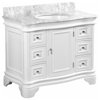 "Katherine Bath Vanity, Base: White, 42"", Top: Carrara Marble"