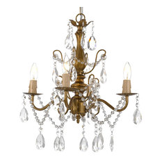 """Wrought Iron and Crystal 4-Light Gold Chandelier 14""""x15"""" Pendant Fixture"""