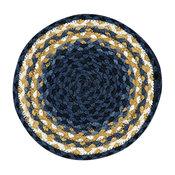 Light Blue, Dark Blue and Mustard Braided Rug, 7 75' Round