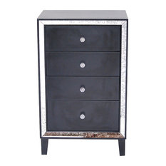 Wood Cabinet With 4 Mirrored Glass Drawers, Black