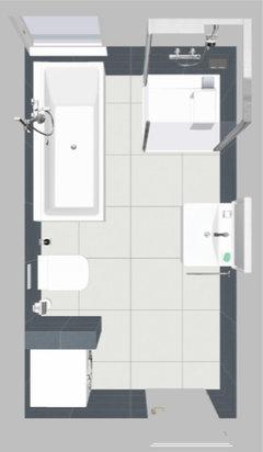 ... Eine Kurze Glastrennwand (evtl. Kombiniert Mit Vorhang) Zum Waschtisch  Aufstelle, Hat Man Den Maximalen Platz Und Das Fenster Nicht Komplett  Verbaut.