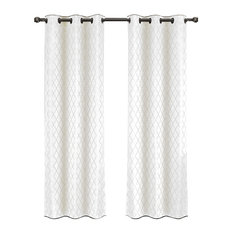 """Willow Thermal Blackout Curtains With Grommets, Set of 2, White, 84""""x84"""""""