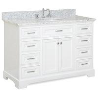 "Aria 48"" Bathroom Vanity, White, Carrara Marble"