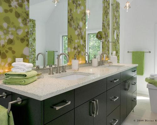 Example Of A Large Trendy Master White Tile And Porcelain Tile Porcelain  Floor Bathroom Design In