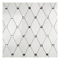 "Mirage Lozenge 2.5""x5"" Marble Mosaic Tile, Thassos"