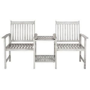 Safavieh Bellagio Outdoor Seat Bench, Twin Set, Ash Grey