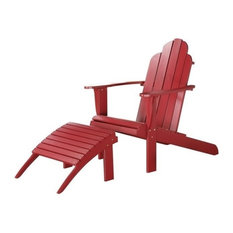Linon Adirondack Chair and Ottoman, Red
