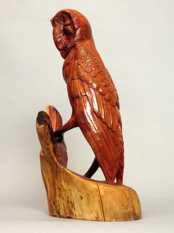 "Red Barn Owl. Hand Carved Cedar Sculpture 17"" x 8"""