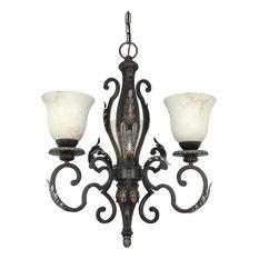 Garnet Bronze 3-Light Chandelier With Marbleized Glass