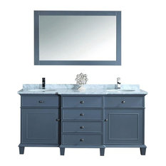 Stufurhome   Cadence Grey 60 Inch Double Sink Bathroom Vanity With Mirror  By Stufurhome   Bathroom