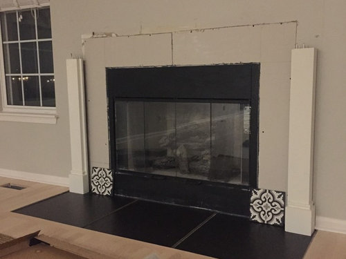 Cement Tile For Fireplace Surround And Black Porcelain For Hearth