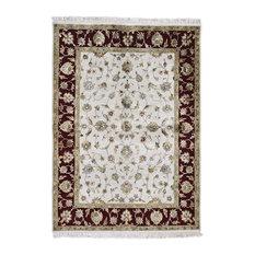 "5'2""x7'2"" Handmade Half Wool and Half Silk Rajasthan Oriental Rug"